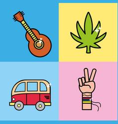 Set instruments representative to hippie vector