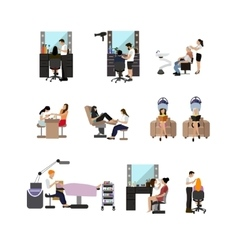 Set of beauty salon people isolated on vector