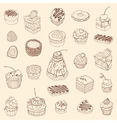 Set of cute cake Outline vector image vector image