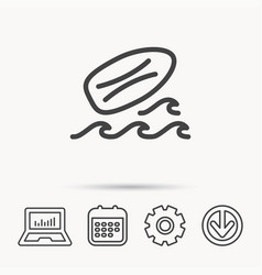 Surfboard icon surfing waves sign vector
