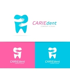 Tooth and hands logo combination dental vector