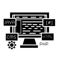 web development icon black vector image