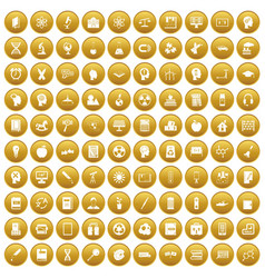100 education icons set gold vector