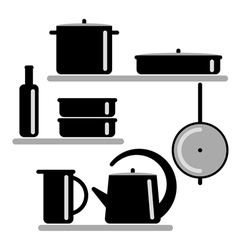 Silhouettes of kitchen shelves and cooking vector