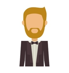 Half body man in suit with beard without face vector