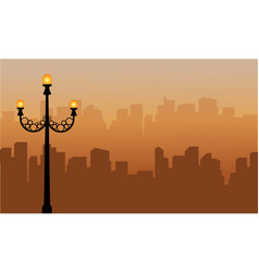 Landscape of urban silhouette with street lamp vector