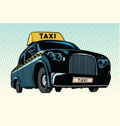 Black taxi with a yellow sign vector