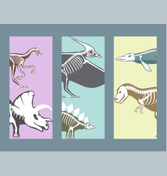 Dinosaurs skeletons silhouettes cards set fossil vector