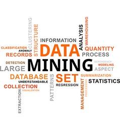 word cloud data mining vector image