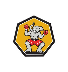 Elephant mascot boxer cartoon vector
