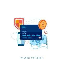 Credit or debit card online payment flat vector