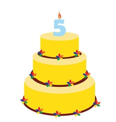 Fifth birthday cake vector image