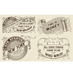 Vintage labels set elements organized by layers vector
