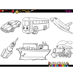 Transport vehicles coloring page vector