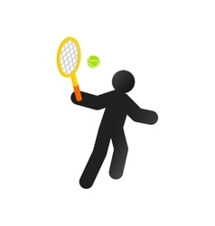 Tennis player isometric 3d icon vector