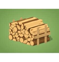 Low poly firewood stacked in piles vector