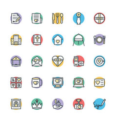 Wedding cool icons 3 vector