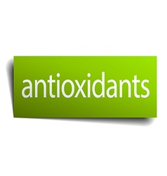 Antioxidants green paper sign on white background vector