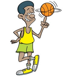 Cartoon basketball player spinning vector