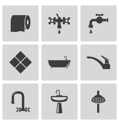 Black bathroom icons set vector