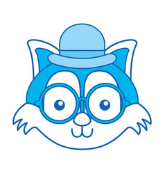 Blue icon vintage fox face vector