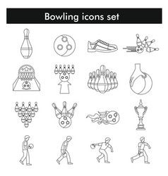 Bowling icon set in black line style vector