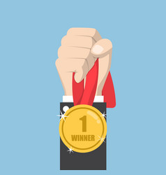 businessman hand holding winner medal vector image vector image