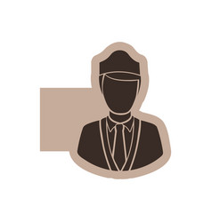 color emblem with silhouette stewardess half body vector image