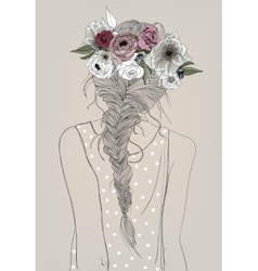 cute girl with braid and flowers vector image vector image