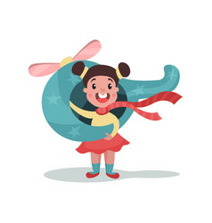 cute little girl playing with toy airplane kid vector image