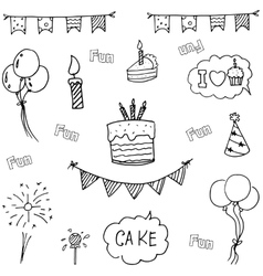 Doodle art birthday party hand draw vector