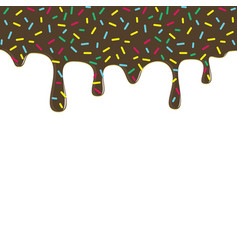 dripping chocolate donut glaze background vector image vector image