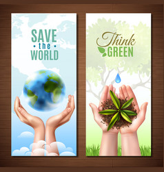 ecology realistic hands banners vector image