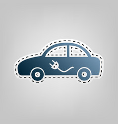 Electric car sign blue icon with outline vector