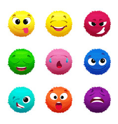 funny furry faces of monsters puffy balls of vector image vector image