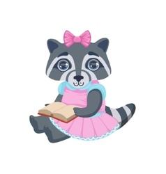 Girl raccoon with book vector