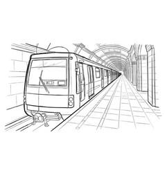 hand drawn sketch saint petersburg subway station vector image vector image