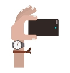 hand holding cellphone for selfie cam vector image