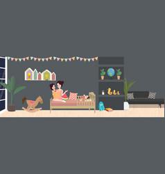 kid room interior in dark vector image