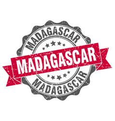 Madagascar round ribbon seal vector