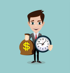 man holding a money bag and a clock vector image