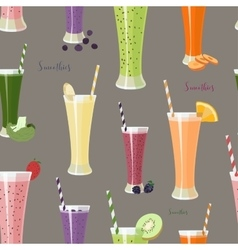 Pattern with smoothies with different Ingredients vector image vector image