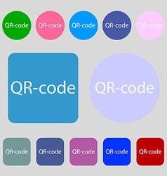 Qr-code sign icon scan code symbol 12 colored vector