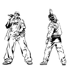 Raper and graffiti guy on white background vector