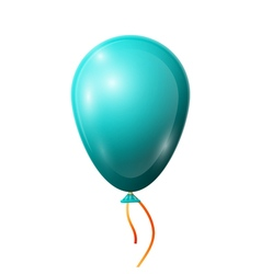 Realistic blue balloon with ribbon isolated on vector