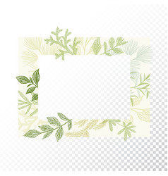 Rectangular floral frame ornament vector