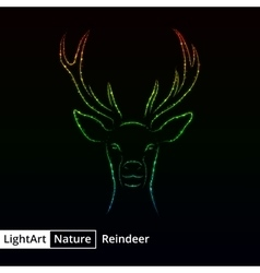 Reindeer silhouette of lights on black background vector image vector image