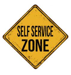 Self service zone vintage rusty metal sign vector