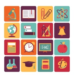 set of icons educationflat style vector image vector image