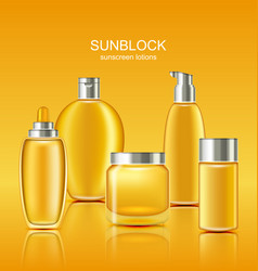 Set sunscreen protection cosmetics sun care vector